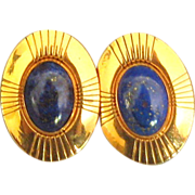 Lapis Lazuli on Copper Pierced Earrings