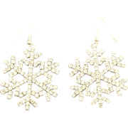 Sparkling Vintage Rhinestone Snowflake Pierced Sterling French Wire Earrings