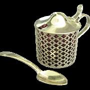 Vintage 1930's Pierced Sterling Cranberry Glass Mustard Pot or Condiment Jar