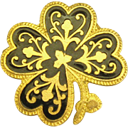 Vintage Damascene 4 Leaf Clover Shape Brooch