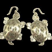 Charming Sterling Turtle Pierced Earrings