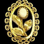 Pretty Vintage Signed K.L. Opal GF Flower Brooch