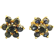Vintage 14K Blue Sapphire Cluster Pierced Earrings