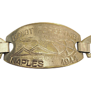 "Vintage 1944 ""Do Not Forget Me"" Pressed Metal Bracelet"