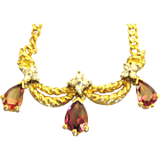 Vintage Italian 14K Yellow and White Gold Necklace with Rhodolite Garnets