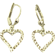 Sweet 14K White Gold Lever Back Heart Dangle Earrings