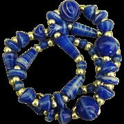 Swirled Vintage Art Glass Bead Necklace