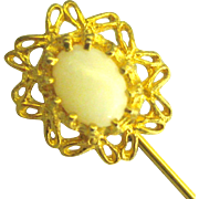Vintage Gold Plate Over Sterling Opal Stick Pin