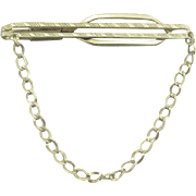 Vintage 1930's Sterling Tie Clasp with Chain