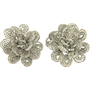 Vintage 1930's Wire Beaded Flower Rosettes