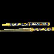 Vintage Blue Cloisonne Pen and Letter Opener Set in Box