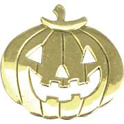 Charming Signed Sterling Carved Pumpkin Brooch