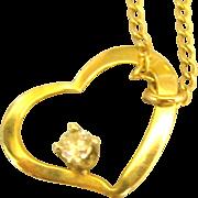 Pretty 14K Open Heart Diamond Pendant and 16 Inch Chain
