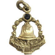 Vintage Sterling Pacific Telephone Charm with Blue Stone