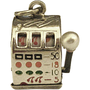 Vintage Sterling Mechanical Slot Machine Charm