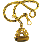 Regal 14K Gold Fill Art Nouveau Watch Chain with Ornate Tiger's Eye Fob - Red Tag Sale Item