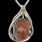 Large Graceful Vintage Sterling Baltic Amber Pendant or Brooch