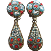 Vintage Signed Italian Micro Mosaic Dangle Earrings