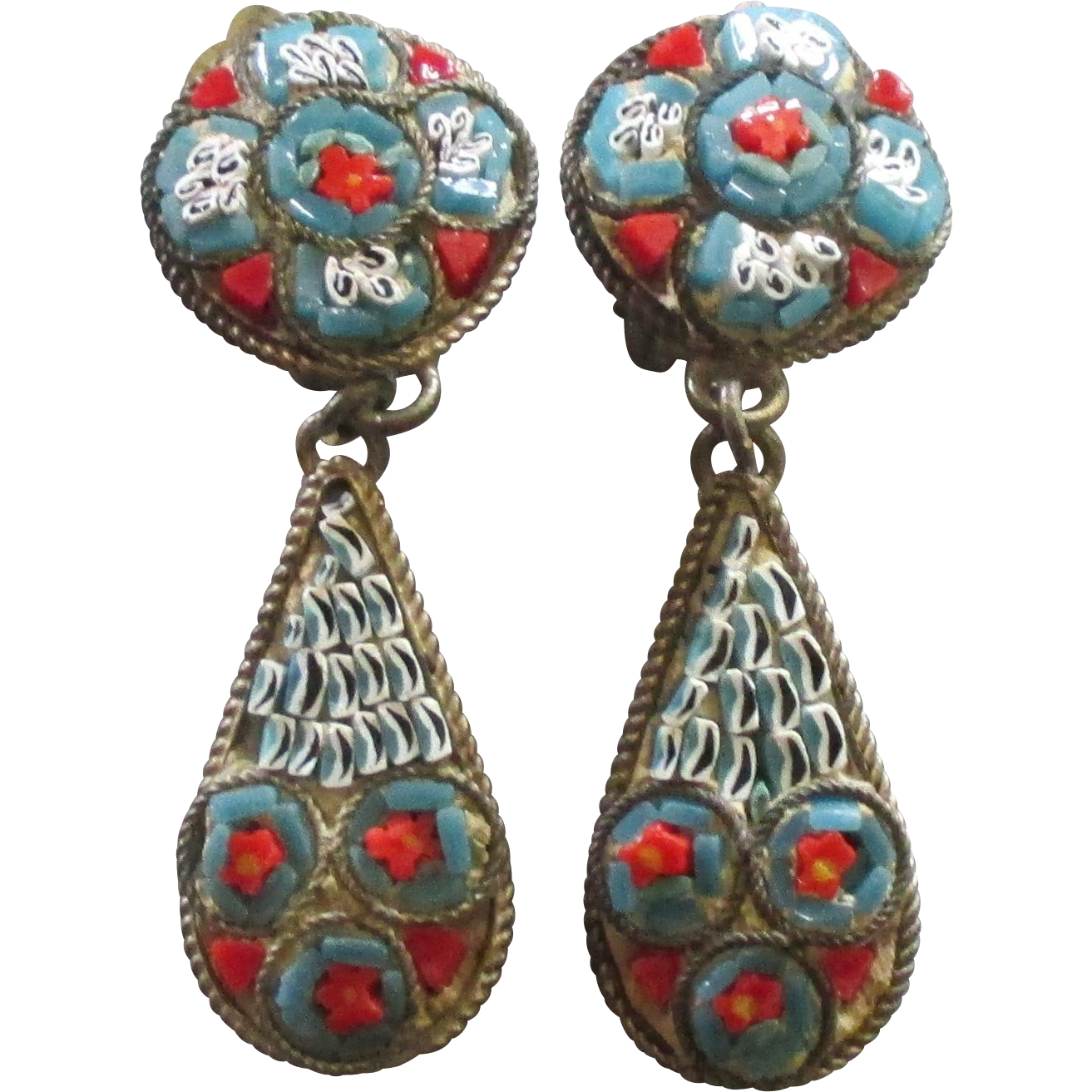 Vintage Signed Italian Micro Mosaic Dangle Earrings From
