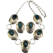 Stunning Vintage Sterling Concho Abalone Necklace and Pierced Earrings Demi Parure