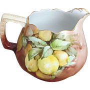 "Large Antique M&Z Hand Painted ""Lemons"" Austrian Porcelain Pitcher"
