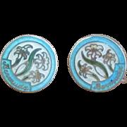 Vintage Enamel Sterling Island of Bermuda Earrings
