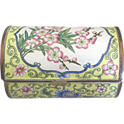 Vintage Chinese Enamel on Copper Cherry Blossom Casket Style Box