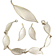 Vintage Signed David Andersen Enamel Sterling Vermeil White Leaves Jewelry Set