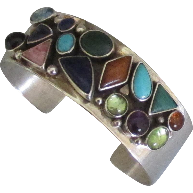 Beautiful Signed Sterling Gemstone Cuff Bracelet From