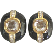 Sophisticated Signed Nina Ricci Vintage Black Enamel Rhinestone Earrings