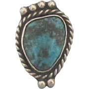 Vintage Navajo Sterling Bear Claw Turquoise Ring- Size 5