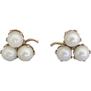 Vintage 10K Triple Cultured Pearl Pierced Earrings