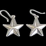 Dimensional Sterling Star Pierced Earrings