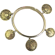 Signed Whiting and Davis Faux Coin Clamper Bracelet