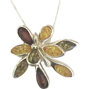 Estate Sterling Gold, Green and Ruby Red Natural Amber Pendant and Chain