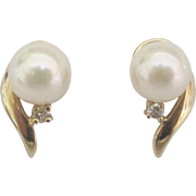 Lovely 14K Cultured Pearl Pierced Earrings with Diamonds