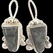 Carved Onyx Sterling Mask Pierced Earrings