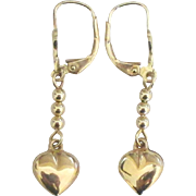 14K Puffy Heart Dangle Pierced Lever Back Earrings