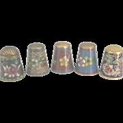 Vintage Floral Chinese Cloisonne Set of 5 Thimbles