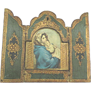 Vintage Italian Wooden Madonna and Child Religious Triptych
