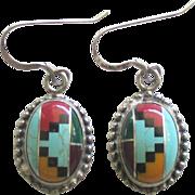 Vintage Sterling Inlaid Zuni Pierced Earrings