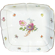 Vintage Meissen Porcealin Square Floral Serving Vegetable Bowl