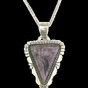 Lovely Vintage Signed Navajo Sterling Purple Charoite Pendant