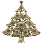 Vintage Weiss Green Rhinestone Christmas Tree Brooch