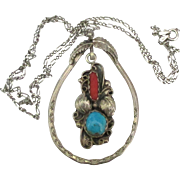 Vintage Signed Sarah Curley Navajo Turquoise and Coral Sterling Pendant