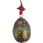 Lovely Large Chinese Champleve Cloisonne Egg Box Pendant on Silk Cord