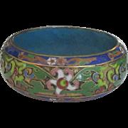 Gorgeous Wide Chunky Vintage Floral Champleve Cloisonne Bangle Bracelet