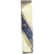 Handsome Vintage Sterling Sodalite Taxco Tie or Money Clip