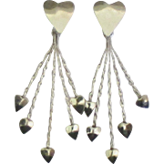 Flirty Vintage Sterling Heart Dangle Pierced Earrings