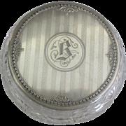 Vintage Art Deco F&B Sterling Topped Crystal Vanity Jar